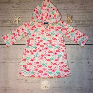 Mud Pie Flamingo Cover Up Cotton W/  Hood L 4T/ 5T